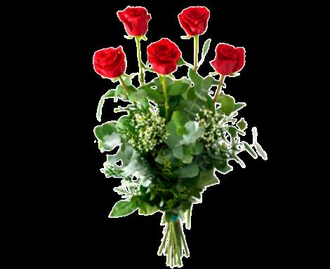 Esmeralda 5 rosas rojas