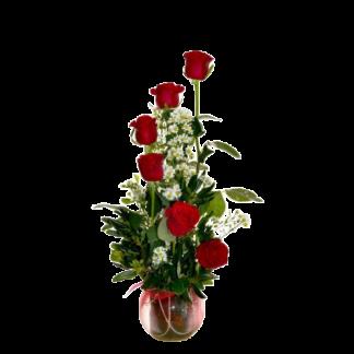 Centro 6 rosas rojas
