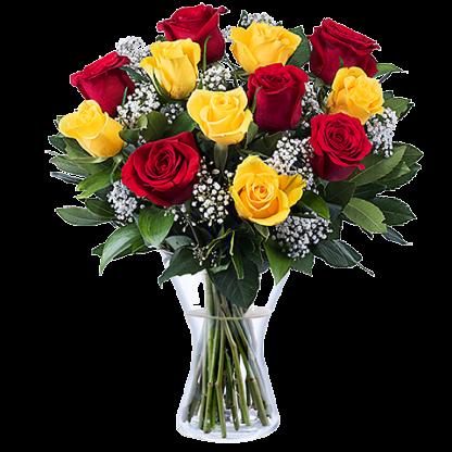 ramo de rosas rojas y amarillas